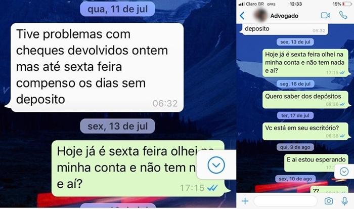 Registro das conversas entre Luis Fernando de Souza e Francisco Carlos de Campos Junior | Foto Reprodução/WhatsApp