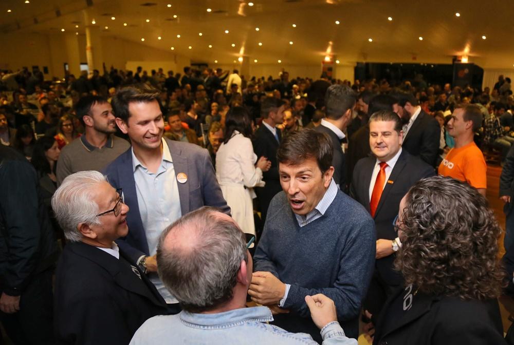 Pré-candidato à presidência, o economista João Amoêdo, do Partido Novo, faz palestra em Jaraguá do Sul | Foto: Eduardo Montecino