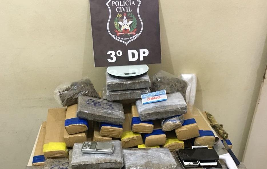 Aproximadamente 60 kg de drogas foram apreendidos na operação deflagrada pela Polícia Civil de Joinville | Foto Polícia Civil/Divulgação