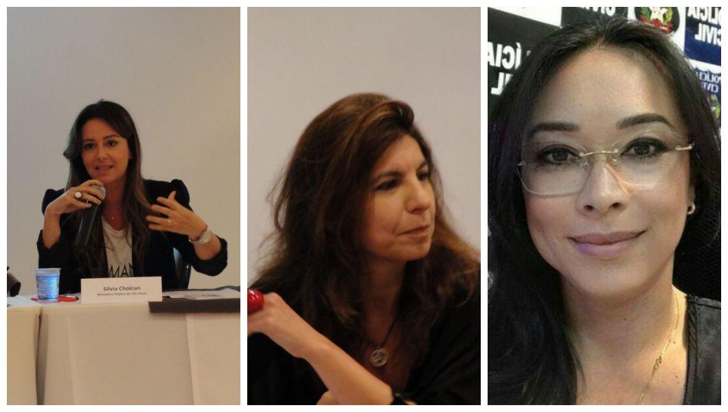 Silvia Chakian, promotora de SP; Teresa Cristina, juíza de SP; e Tânia Harada, delegada de SC (Fotos: Tainah Fernandes/Agência Patrícia Galvão e Arquivo Pessoal)