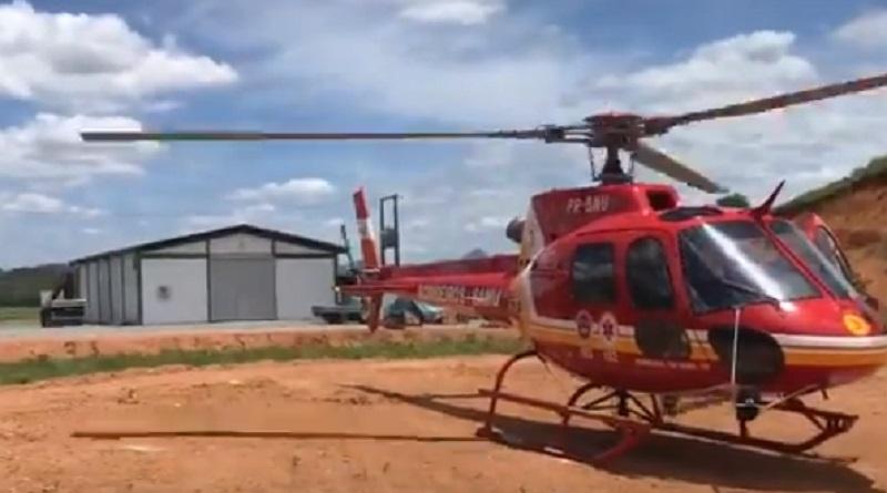 Uma das vítimas foi levada pelo helicóptero Arcanjo até o hospital São José de Jaraguá do Sul | Foto Divulgação