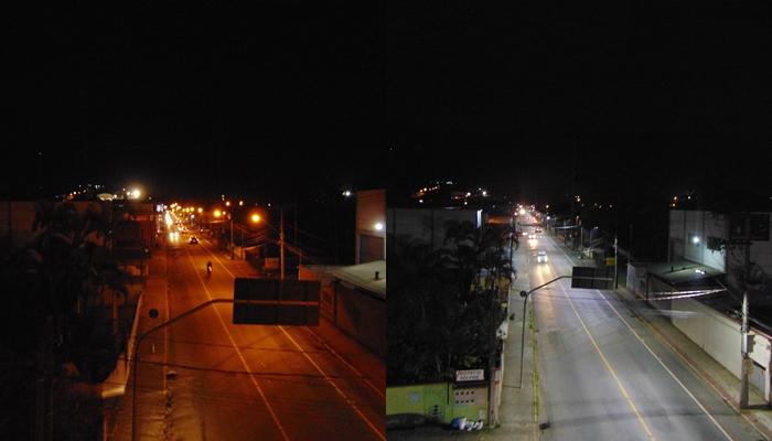 Fotos revelam iluminação antes e depois da instalação do LED    Divulgação/PMJS