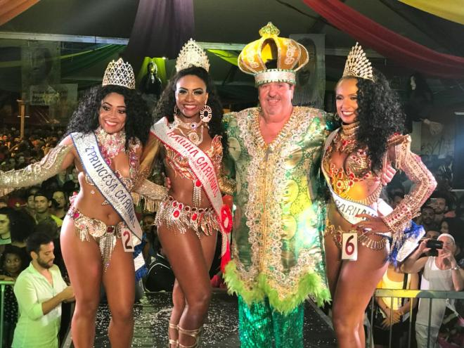 Hernani Hulck, o rei Momo; Caroline Maier, rainha do Carnaval 2018; Thallita Juannita, 1ª princesa e;  Eduarda Teixeira, 2ª princesa estão no evento | Foto PMF/Divulgação