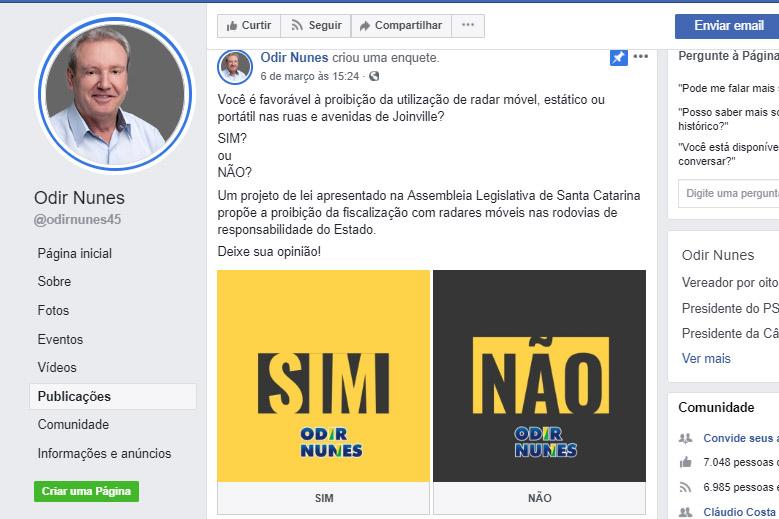 Vereador chamou a discussão para as redes sociais e criou uma enquete no Facebook | Imagem Reprodução